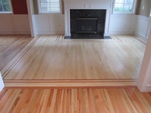 After - Newly Installed Maple With Custom Mahogany Inlay - Snoqualmie