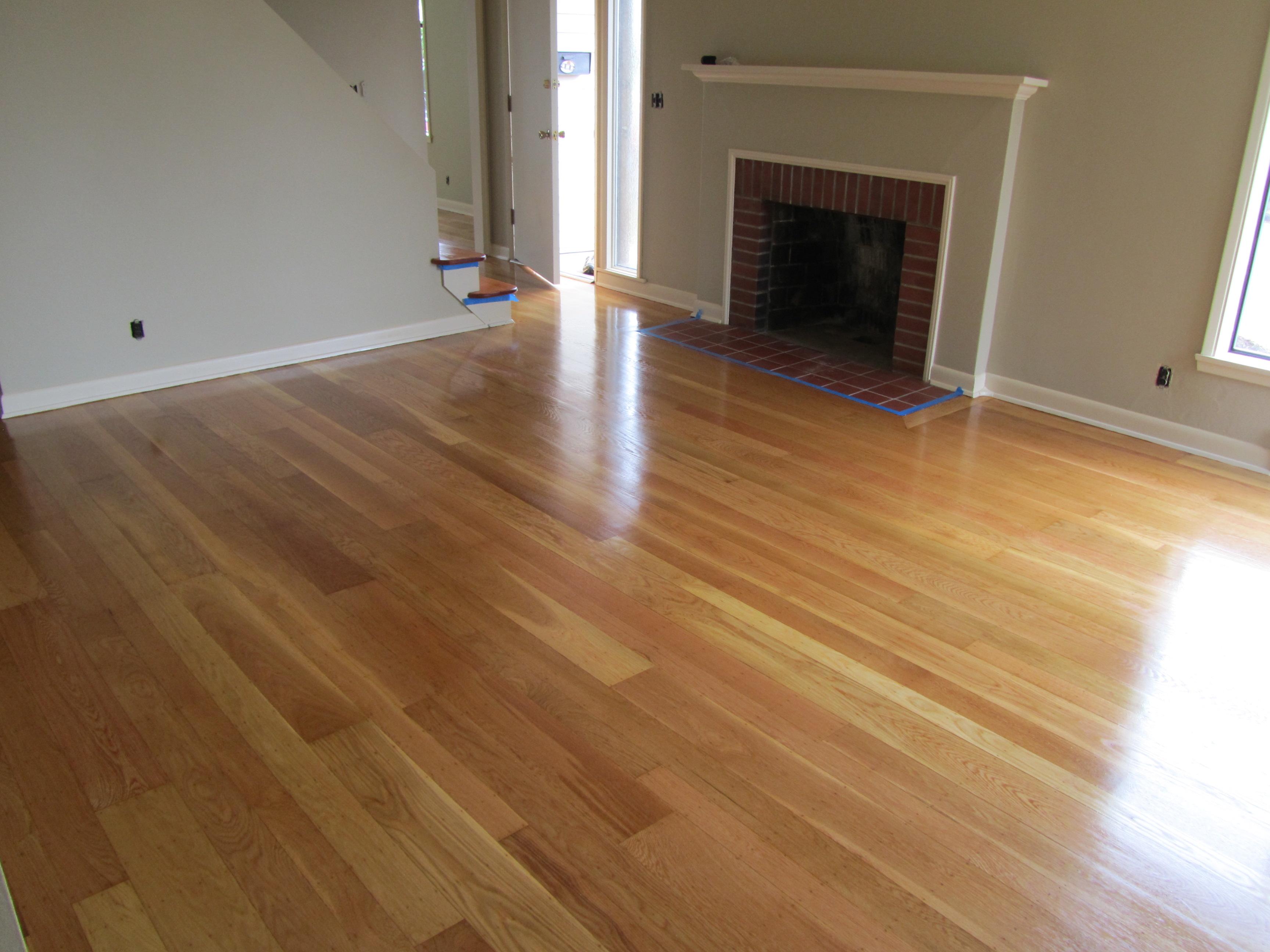 Living room after white oak maple leaf seattle for White oak hardwood flooring