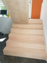 With the custom cut red oak treads
